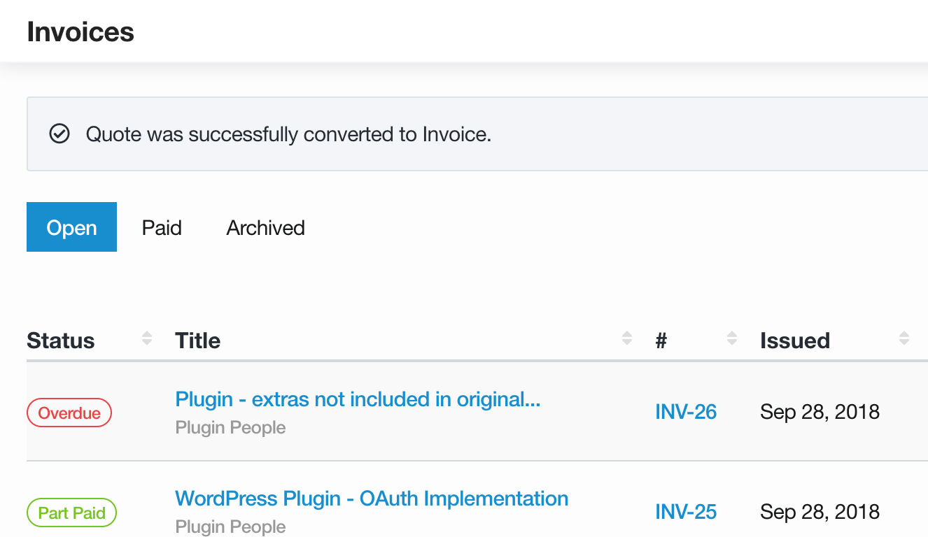 Convert quotes to invoices