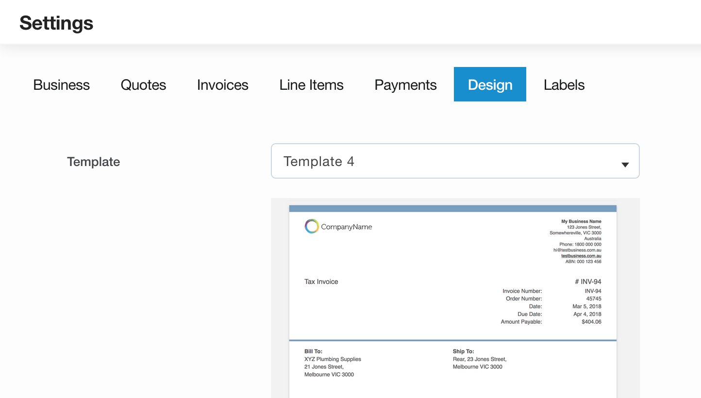 Invoice template design options